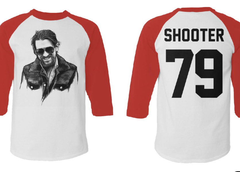 Shooter Jennings Baseball Tee: White 1